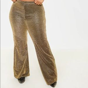 Sparkly Gold High Waist Flare Pants